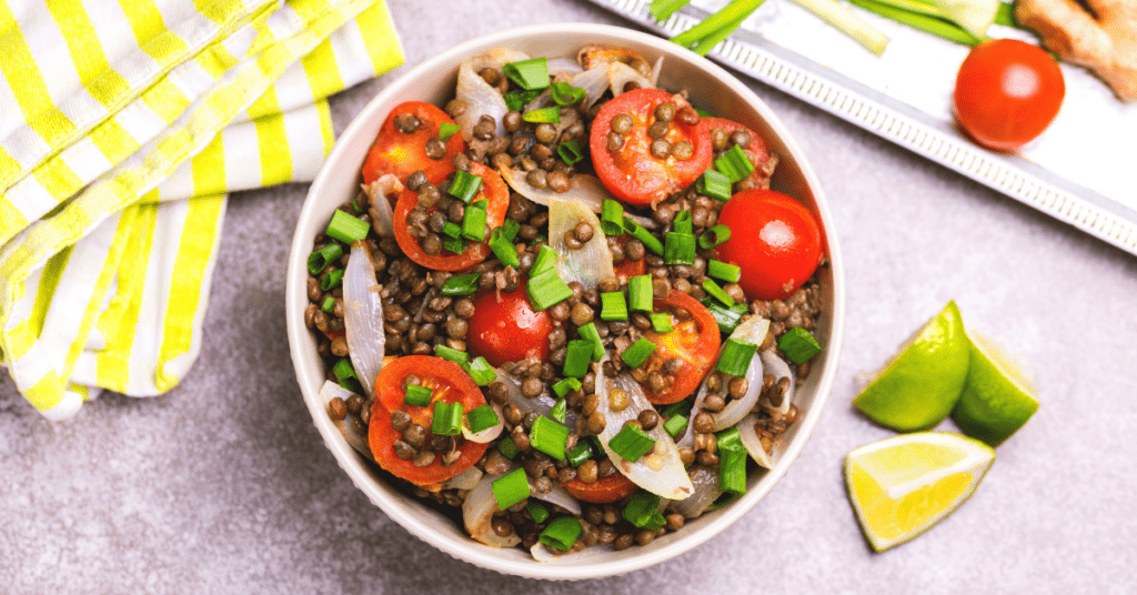 Lentil Salad with Onions, Tomatoes and Lime