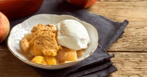 Peach Cobbler with Ripe Peach Fruit
