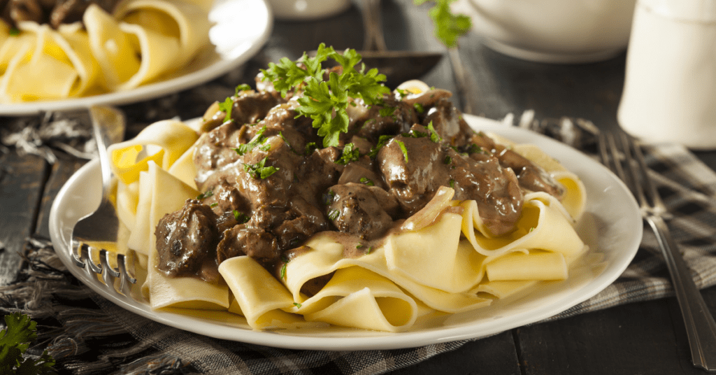 Beef Stroganoff with Mushroom and Noodles