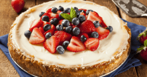 Homemade Cheesecake with Blueberries and Strawberries
