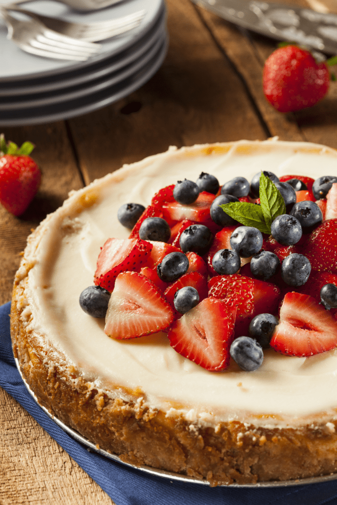 Homemade Cheesecake with Blueberry and Strawberry Toppings