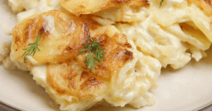 Homemade Scalloped Potatoes in a Plate