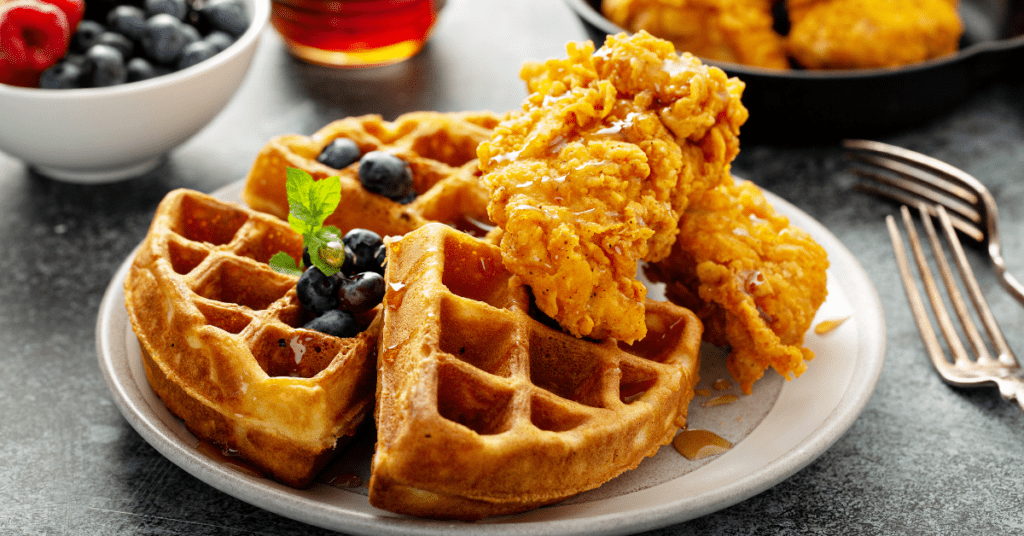 Homemade Waffles with Chicken and Berries