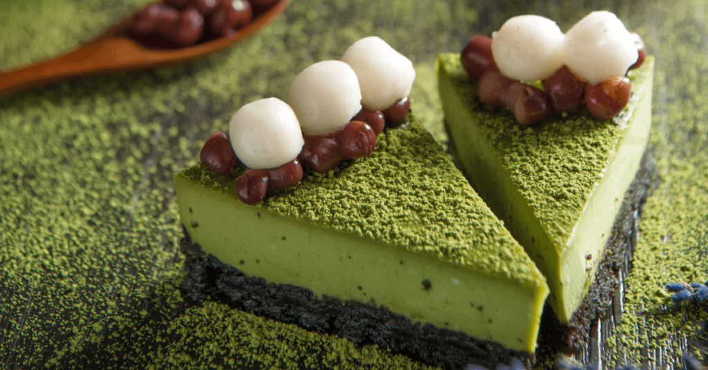 Matcha Cake with Red Beans and Rice Dumpling