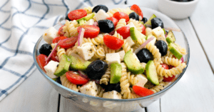Pasta Salad with Cheese, Avocados and Tomatoes