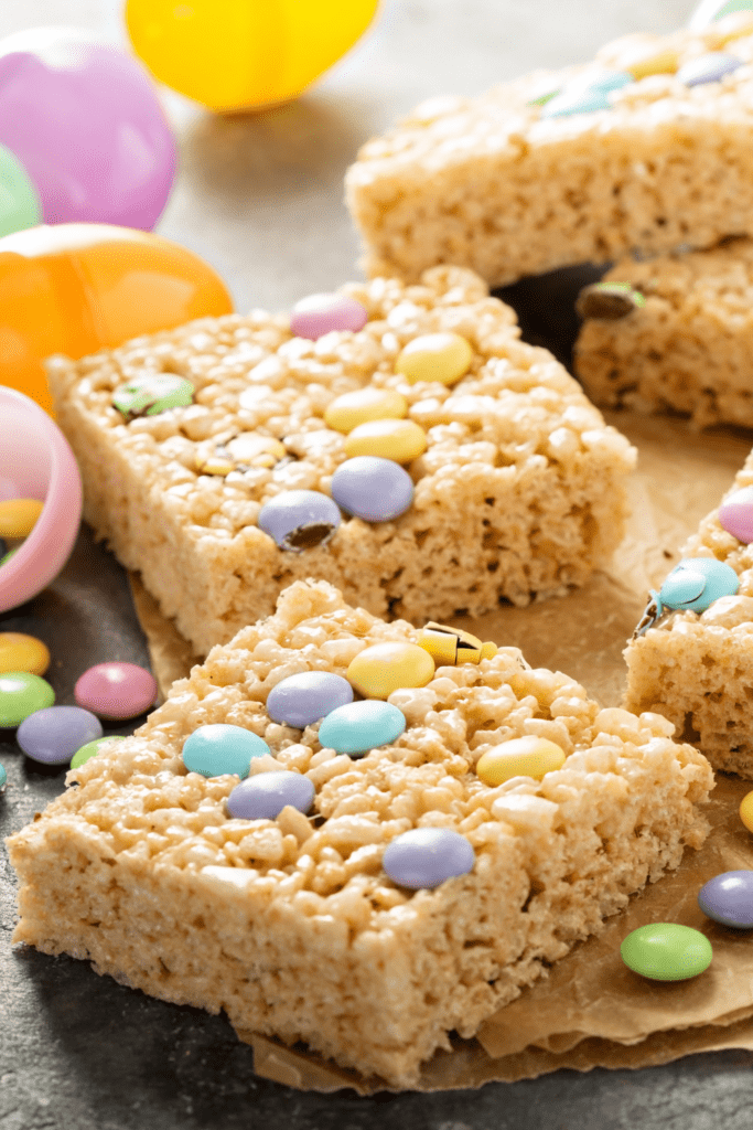 Rice Krispy Treats with Candy Toppings