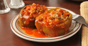 Stuffed Green Bell Pepper with Ground Beef