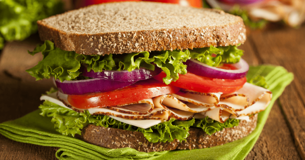 Turkey Sandwich with Tomatoes, Lettuce and Onions