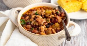 15 Bean Soup in a Small Pot with Cornbread