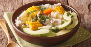 Colombian Ajiaco Soup with Chicken, Avocado and Corn