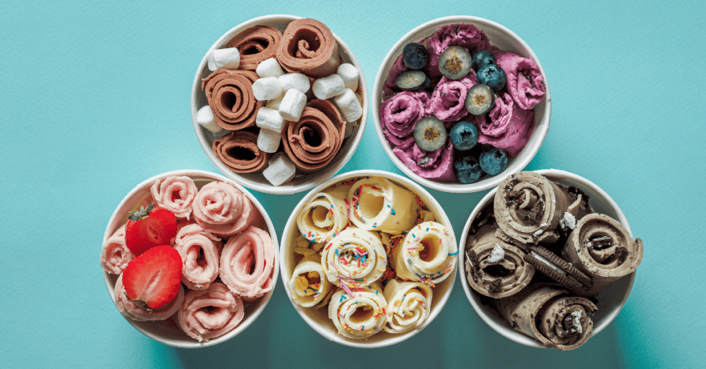 Assorted Rolled Ice Cream Flavors