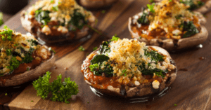 Baked Stuffed Portabello Mushrooms with Spinach
