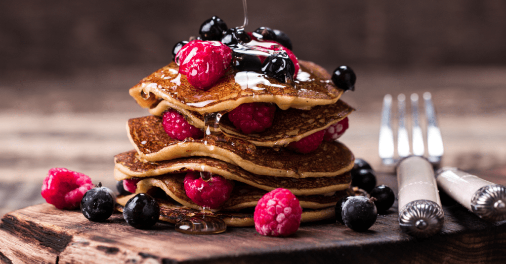 Buckwheat Pancakes with Berries and Honey
