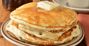Buttermilk Pancakes with Melted Butter and Syrup