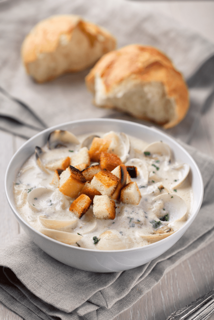 Clam Chowder with Bread Crumbs