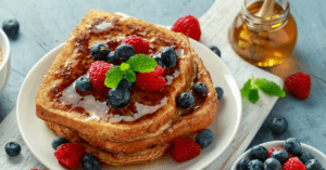 Homemade French Toast with Berries and Honey