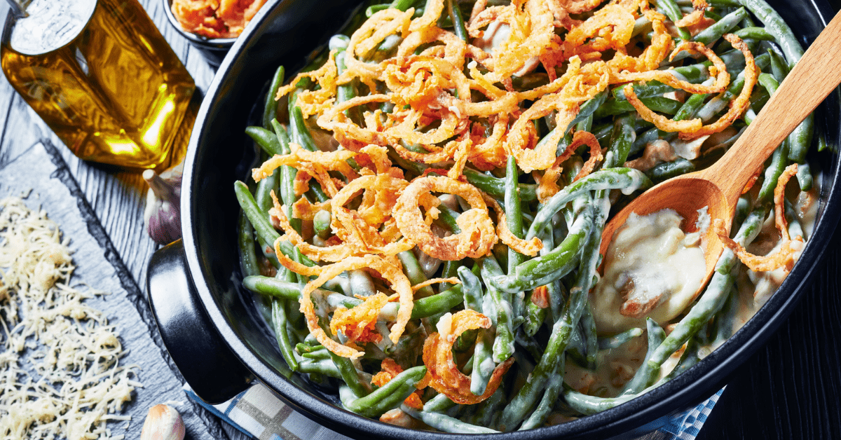 Homemade Green Bean Casserole Topped with Fried Onions