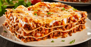 Homemade Ground Beef Lasagna with Melted Cheese