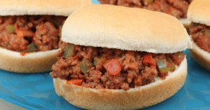 Homemade Sloppy Joe Sandwich with Tomatoes and Bell Peppers
