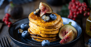 Pumpkin Panckes with Caramelized Figs and Blueberries