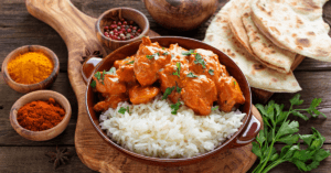 Spicy Curry with Rice and Naan Bread