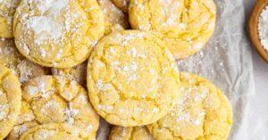 Sweet Homemade Lemon Cake Mix Cookies with Powdered Sugar