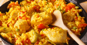 Arroz Con Pollo or Rice Chicken with Vegetables