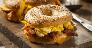 Bagel Breakfast Sandwich with Egg, Bacon and Cheese