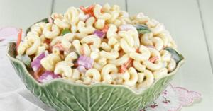 Bowl of Creamy Macaroni Salad with Vegetables