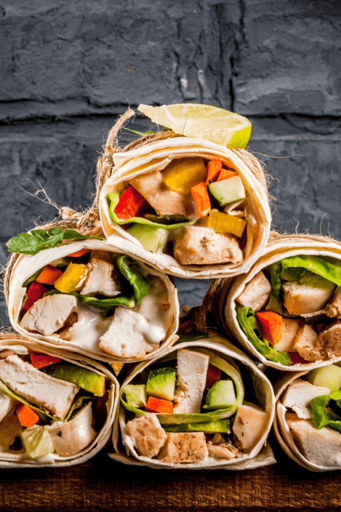 Buffalo Chicken Wraps with Fresh Vegetables