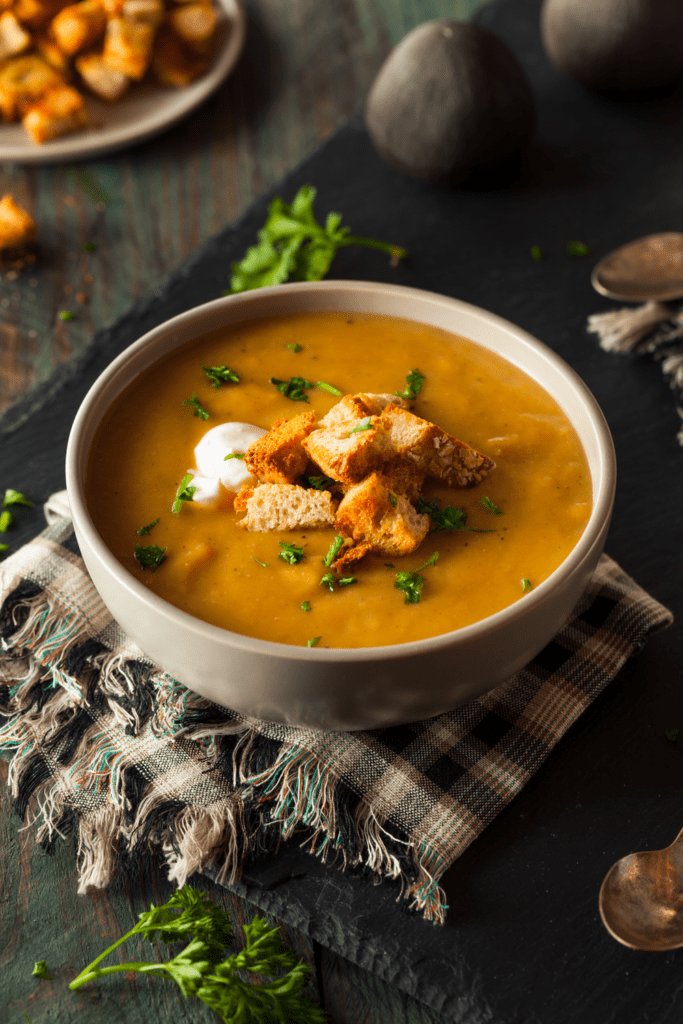 Homemade Butternut Squash Soup with Croutons