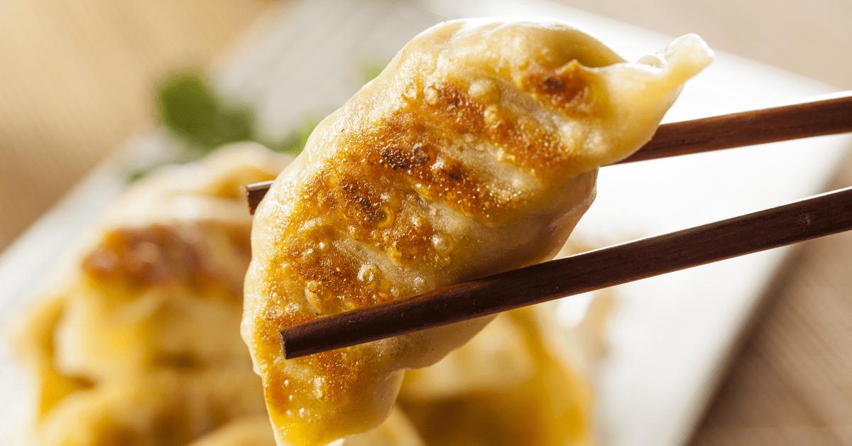Chinese Pot Sticker in Chopsticks