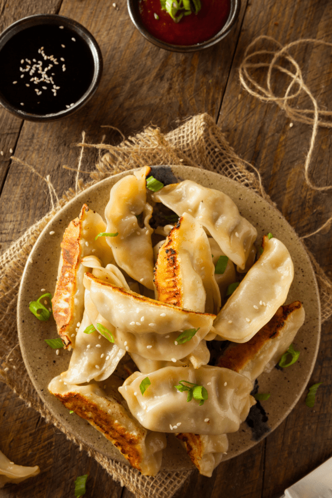 Chinese Potstickers with Soy Sauce and Ketchup