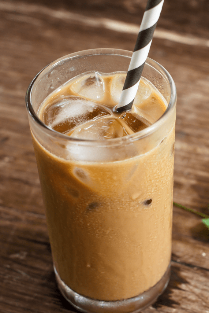 Cold iced coffee in a glass