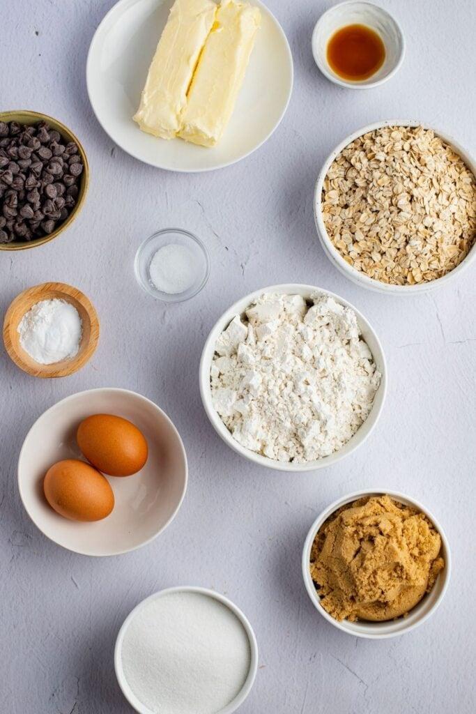 Cowboy Cookies Ingredients: Flour, Eggs, Chocolate Chip Cookies, Brown Sugar and Oats