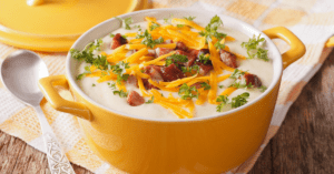 Cream Potato Soup with Bacon and Cheddar Cheese