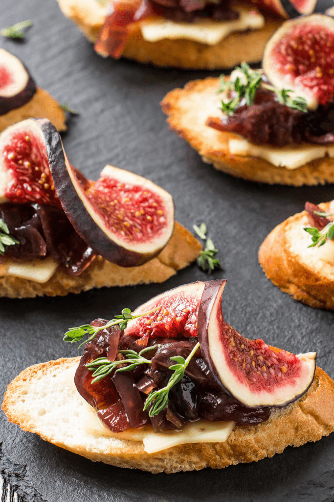 Crostini with Baguettes, Figs, Cheese and Jammed Onions