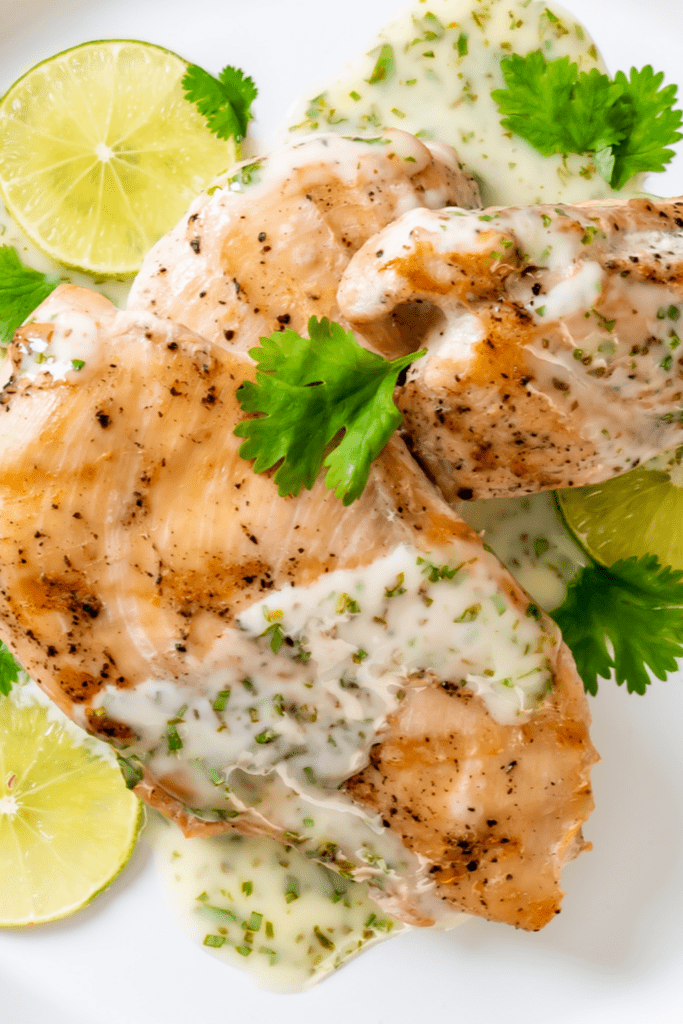 Grilled Chicken Breast with Lemon Lime Sauce and Herbs