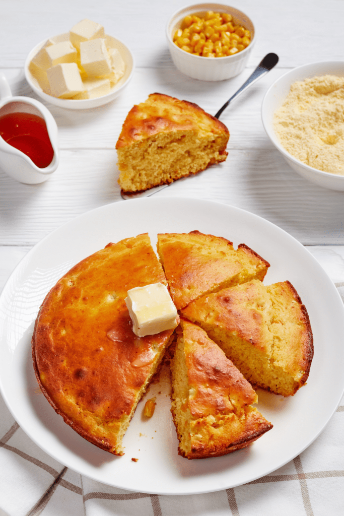 Homemade Cornbread Topped with Melted Butter
