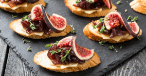 Homemade Crostini with Baguettes, Figs, Cheese and Jammed Onions