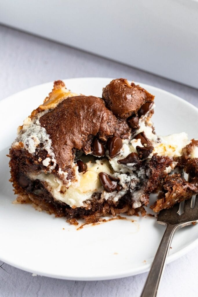 Homemade Earthquake Cake with Cream Cheese and Chocolate Chips
