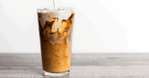 Homemade Iced Coffee Latte with Milk and Cream