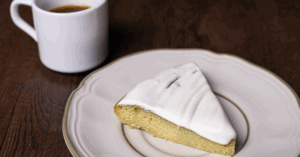 Homemade Key Lime Cake with a Cup of Coffee