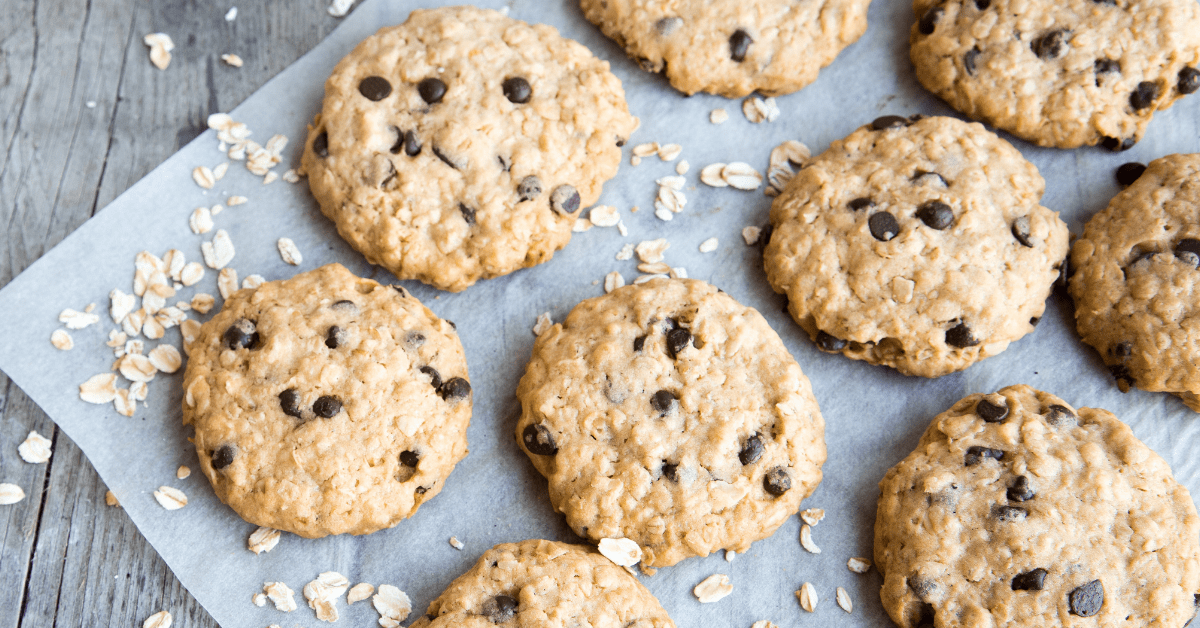 Homemade Oatmeal Cookies with Chocolate Chips in a Pan Sheet