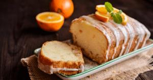 Homemade Orange Pound Cake with Sugar Glaze and Fresh Oranges