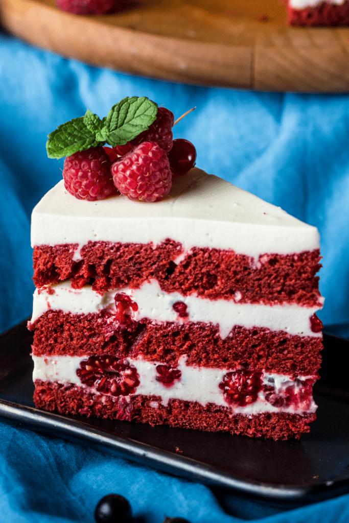 Homemade Red Velvet Cake with Raspberries