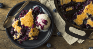 Homemade Sweet Blueberry Cobbler with Ice Cream