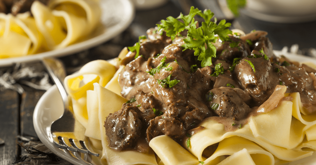 Homemade Beef Stroganoff with Noodles and Mushrooms