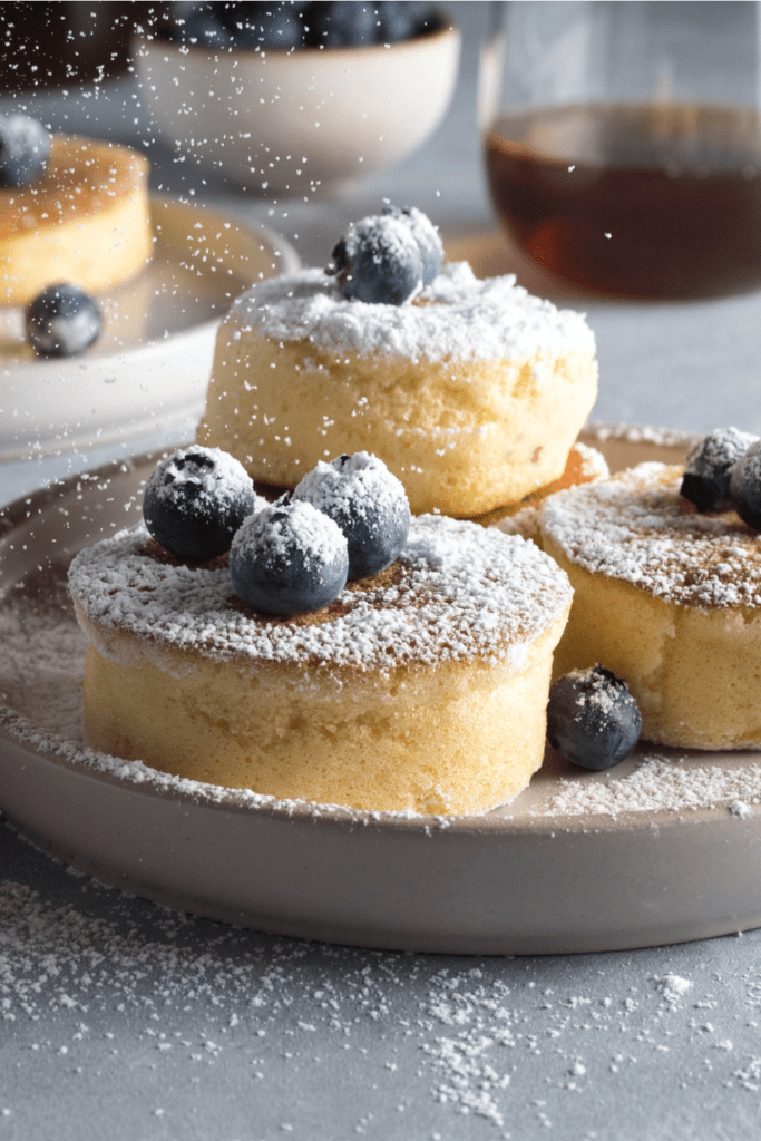 Japanese Pancakes with Powdered Sugar and Blueberries