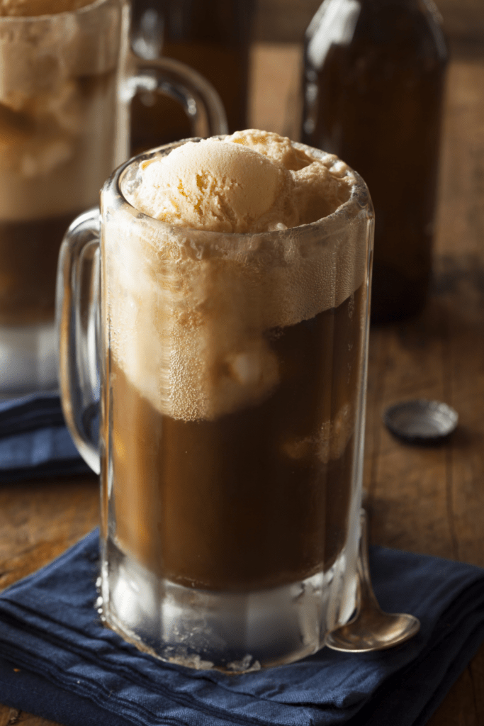 Homemade Root Beer Float with Vanilla Ice Cream
